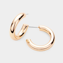 Classic Tube Hoops: Gold, Silver Or Rose