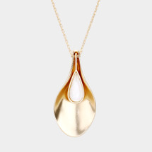 Golden Teardrop Long Necklace