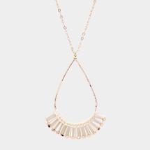 Teardrop Fan Long Necklace: White