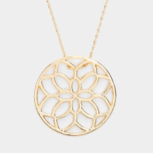 Long Floral Pendant Necklace: Gold Or Silver