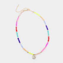 Rainbow Beaded Hammered Disc Necklace