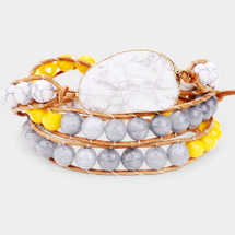 Summer Sunshine Druzy WrapBracelet/Necklace In One