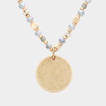 Beaded Round Disc Necklace