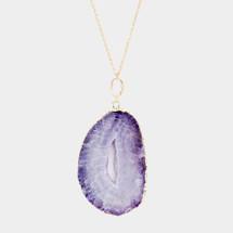 Purple Semi Precious Stone Long Necklace