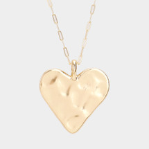 Hammered Heart Long Necklace: Gold Or Silver