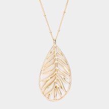 Modern Leaf Long Necklace: Gold Or Silver