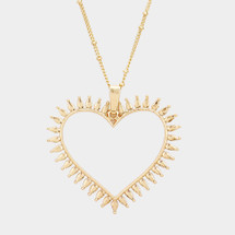 Cut Out Heart Long Necklace: Gold OR Silver