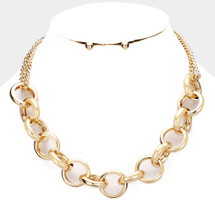 Circle Links Statement Necklace: Gold Or Silver