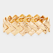 Hammered Chevron Bracelet: Gold Or Silver