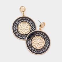 Black + Gold Filigree Earrings