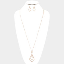 Hammered Long Teardrop Necklace: Gold Or Silver