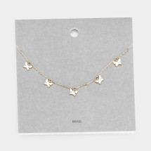 Five Butterflies Necklace: Gold Or Silver