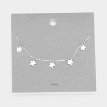 Delicate Five Flower Necklace: Gold Or Silver