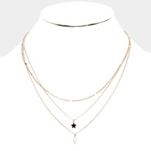 Triple Layered Star + Bolt Necklace: Gold Or Silver