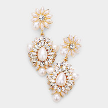 Pearl Marquise Crystal Earrings