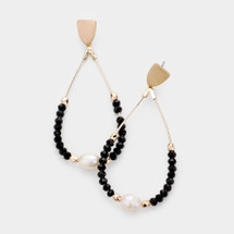 Black & White Beaded Pearl Hoops