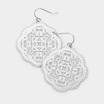 Floral Filigree Metal Earrings: Gold Or Silver