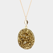 Long Drusy Pendant Necklace: Gold Or Silver