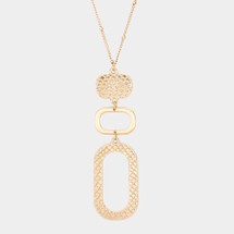 Textured Drop Long Necklace: Gold Or silver