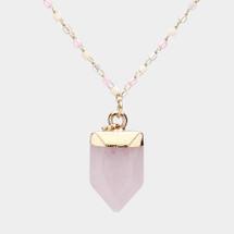 Rose Quartz Semi Precious Stone Necklace