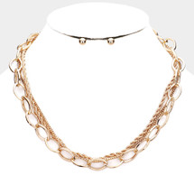 Linked Layered Necklace: Gold Or Silver