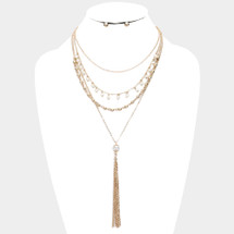 Layered Pearl Tassel Necklace: Gold Or Silver