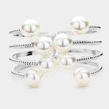 Pearl Accented Hinged Cuff