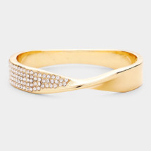 Pave Twist Hinged Bracelet: Gold Or Silver