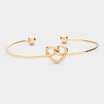 Heart Knot Cuff Bracelet: Gold Or Silver