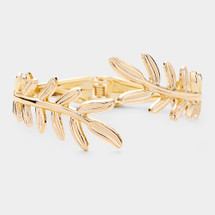 Hinged Leaf Bracelet: Gold Or Silver