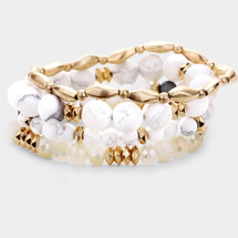 White + Gold Semi Precious Bracelet Set