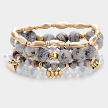 Grey + Gold Semi Precious Bracelet Set