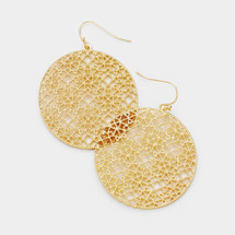 Filigree Disc Earrings: Gold, Silver, or Rose