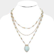 Semi Precious Stone Layered Necklace: Mint