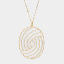 Long Oval Pendant Necklace: Gold Or Silver