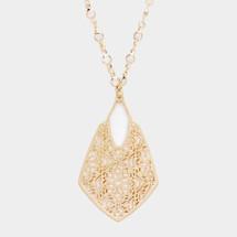 Vintage Inspired Long Filigree Necklace