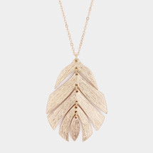 Long Leaf Necklace: Gold Or Silver