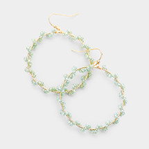 Bead Wrapped Hoops: Mint