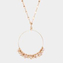 Long Topaz Wire Pendant Necklace