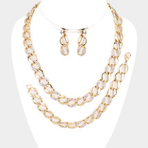 Crystal Pave Links Set: Necklace, Bracelet & Earrings