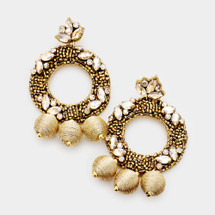 Marquise Beaded Drop Earrings