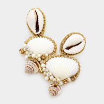 Puka Shell Pearl Dangle Earrings