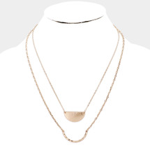 Layered Pendant Necklace: Gold OR Silver