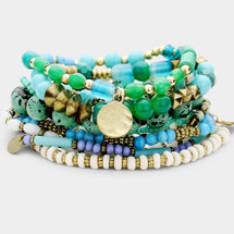 Semi Precious Bracelet Super Stack: Blue Tones