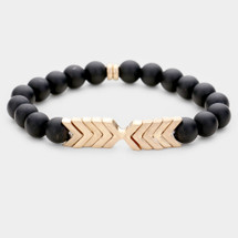 Semi Precious Chevron Beaded Bracelet: Black