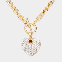 Pave Heart Toggle Necklace: Gold Or Silver