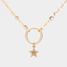Circle Star Necklace: Gold Or Silver
