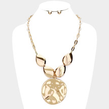 Hammered Pendant Statement Necklace: Gold Or Silver