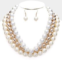 Triple Layer Pearl Necklace