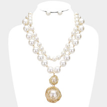 Layered Pearl Pendant Necklace: Gold OR Silver